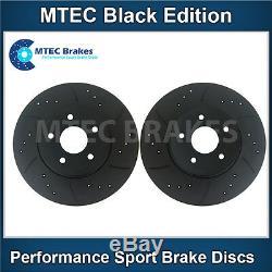 Opel Astra Turbo Vxr Mk5 Front Brake Discs Grooved Black Mtec Percé